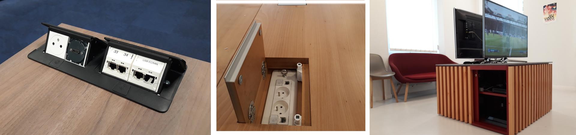 Boitier connectique, meuble audiovisuel
